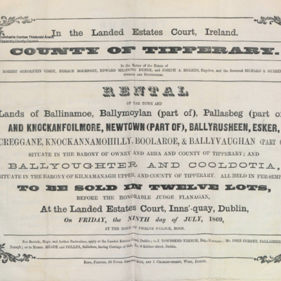 Rental of the town and lands of Ballinamoe, Ballymoylan (part of), Pallasbeg (part of), Knockanfoilmore, newtown (part of), Ballyrusheen, Esker, Creggane, Knockanmohilly, Boolaroe and Ballyvaughan (part of) in the Barony of Owney and Arra. Ballyoughter and Cooldotia in the Barony of Kilnamanagh Upper.