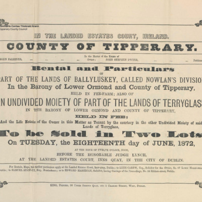 Rental and particulars of part of the lands of Ballyluskey, called Nowlan's division, in the Barony of Lower Ormond and County of Tipperary held in fee-farm; also of an undivided moiety of part of the lands of Terryglass in the Barony of Lower Ormondy and County of Tipperary in the Barony of Lower Ormond held in fee.