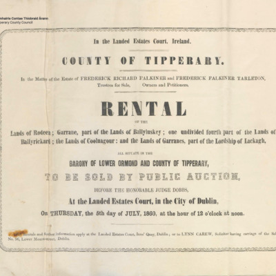 Rental of the lands of Rodeen, Garrane, part of the lands of Ballyluskey, one undivided fourth part of the lands of Ballyrickard, the lands of Coolnagour and the lands of Garranes, part of the Lordship of Lackagh in the Barony of Lower Ormond and County of Tipperary