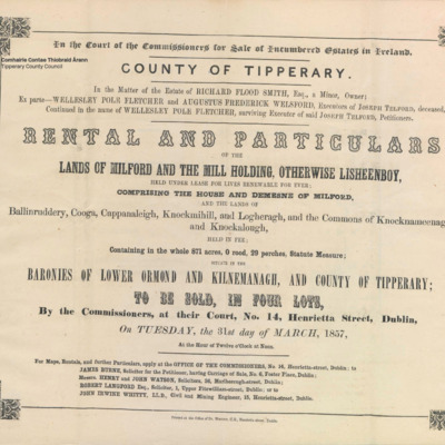 Rental and particulars of the lands of Milford and the mill holding, otherwise Lisheenboy, comprising the house and demesne of Milford and the lands of Ballinruddery, Cooga, Cappanaleigh, Knockmihil, Logheragh and the commons of Knocknameenagh and Knockalough. Baronies of Lower Ormond and Kilnemanagh and county of Tipperary