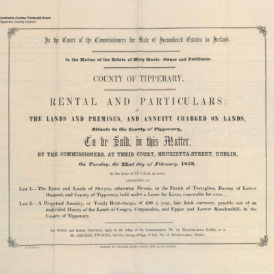 Rental and particulars of the lands situate in the County of Tipperary.<br /><br />