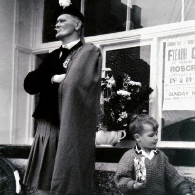 Stan Cummins, Templemore Pipe Band with his son at Tipperary Fleadh Cheoil Roscrea in 1964