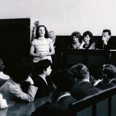 Nora Butler performing in Roscrea courthouse at Tipperary Fleadh Cheoil Roscrea in 1964