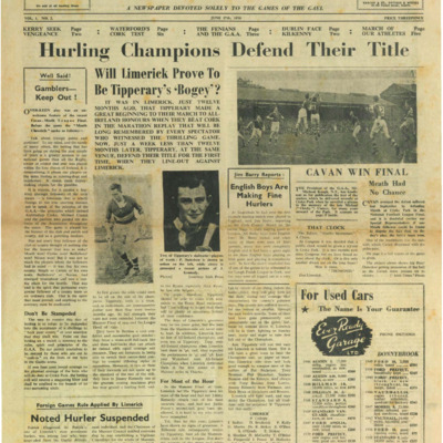 The Gaelic Sportsman Vol. 1, No. 2. 17 June 1950