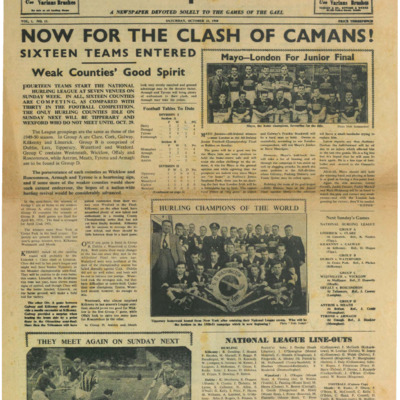 The Gaelic Sportsman Vol. 1, No. 11, 21 October 1950