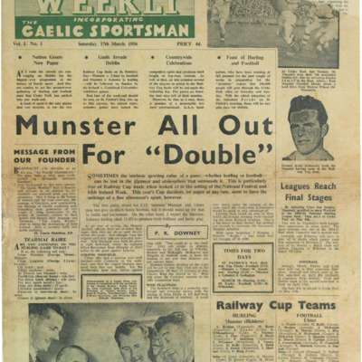 The Gaelic Weekly incorporating The Gaelic Sportsman Vol. 1, No. 1. 17 March 1956