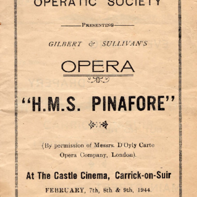 Carrick-on-Suir Operatic Society performance of H.M.S. Pinafore 1944