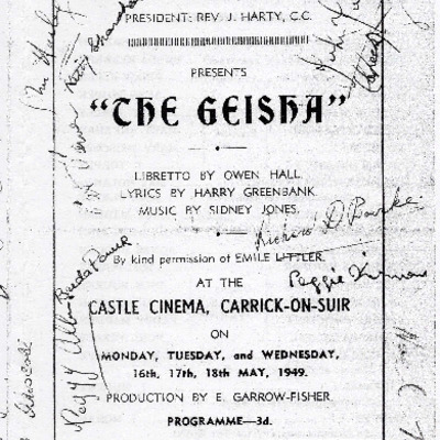 Carrick-on-Suir Amateur Operatic Society performance of The Geisha 1949