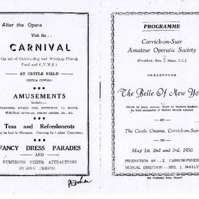 Carrick-on-Suir Amateur Operatic Society performance of  The Belle of New York 1950