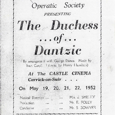 Carrick-on-Suir Amateur Operatic Society performance of The Duchess of Dantzic 1952