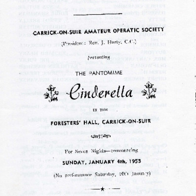 Carrick-on-Suir Amateur Operatic Society performance of the pantomime Cinderella 1953