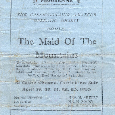 Carrick-on-Suir Amateur Operatic Society performance of The Maid of the Mountains 1953