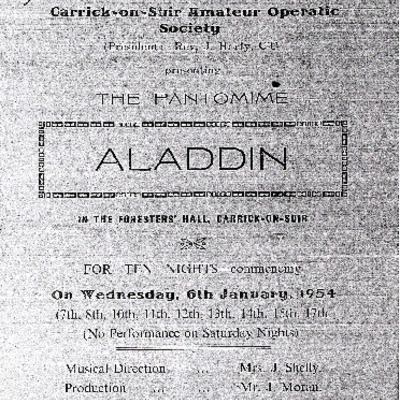 Carrick-on-Suir Amateur Operatic Society performance of the pantomime Aladdin 1954