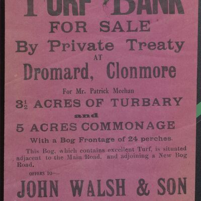 Auction poster for turf bank at Dromard, Clonmore, Co. Tippeary