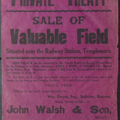 Auction poster for field at Railway Road, Templemore, Co. Tipperary