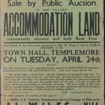 Auction poster for accommodation land at Oldtown, Templemore, Co. Tipperary