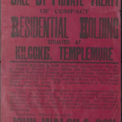 Auction poster for residential holding at Kilcoke, Templemore, Co. Tipperary